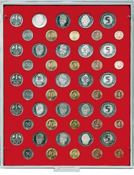 Velourseinlage, hellrot, für 5 DM-Kursmünzensätze