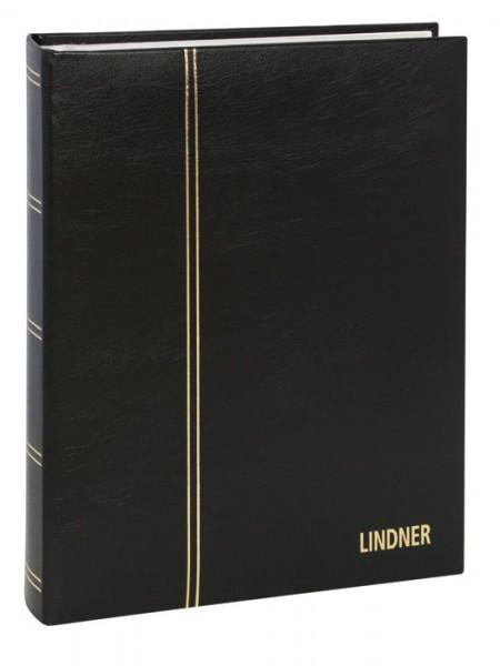 Einsteckbuch ELEGANT, schwarz, wattiert, 60 weiße Seiten, durchgehende Pergamin-Streifen, 230 x 305 mm