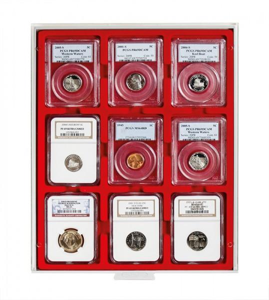 Velourseinlage, hellrot, für 9 US-Münzkapseln (Slabs) bis zu einem Format von 63x85 mm