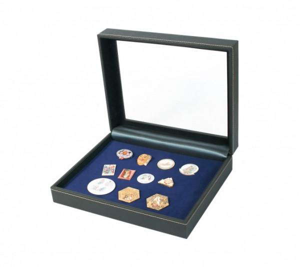 Sammelkassette NERA VARIUS PLUS mit dunkelblauer Schaumstoffeinlage für Pins, Orden, Abzeichen