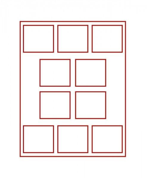 Münzbox RAUCHGLAS mit 10 rechteckigen Fächern für original eingeschweißte 10 DM-Gedenkmünzen PP