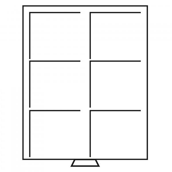 Münzbox 6 eckige Fächer (86x86 mm), rauchfarben