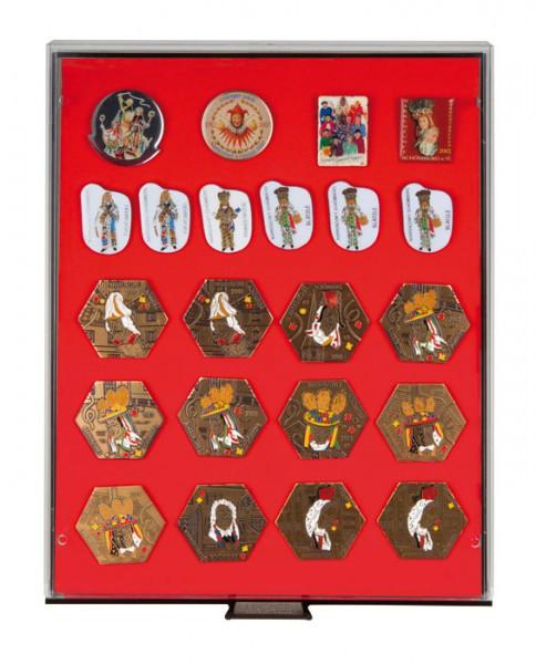Sammelbox RAUCHGLAS mit roter Schaumstoffeinlage für PINs / Orden / Abzeichen
