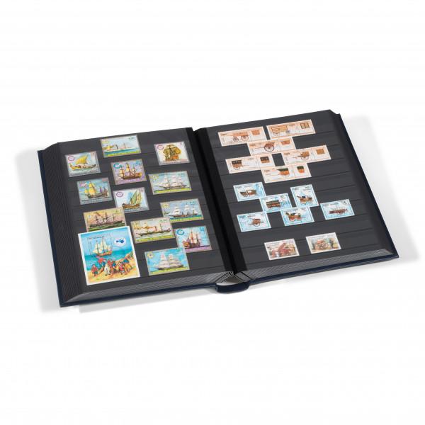 Einsteckbuch LEDER, DIN A4, 64 schwarze Seiten, wattierter Echtleder-Einband