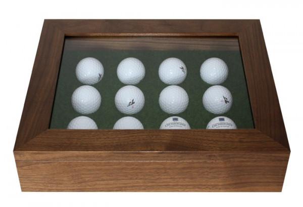 Luxus Echtholz-Golfball-Vitrine