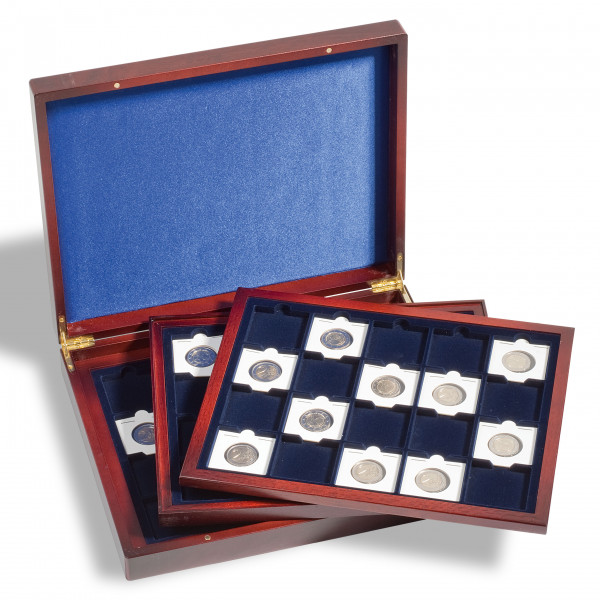 Münzkassette VOLTERRA TRIO deLuxe, für je 20 QUADRUM Münzkapseln, 50 x 50 mm, blau