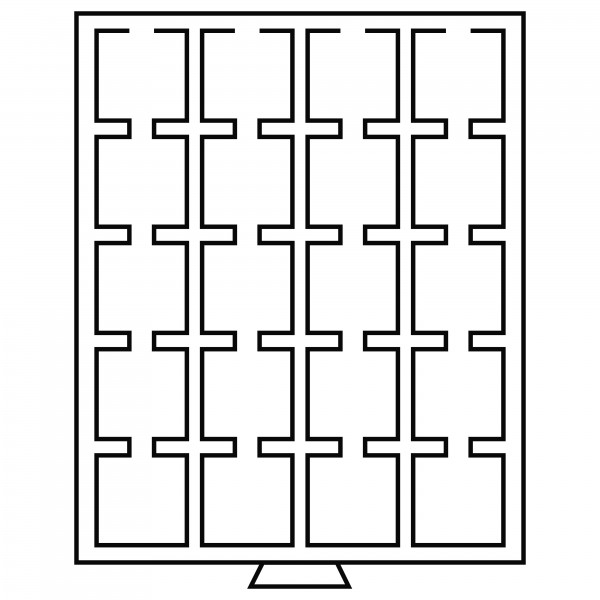 Münzbox 20 eckige Fächer, 50 x 50 mm, grau