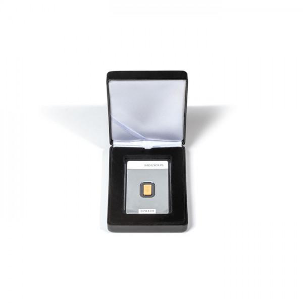 Etui NOBILE für 1x geprägte Goldbarren in Blisterverpackung im Hochformat, schwarz