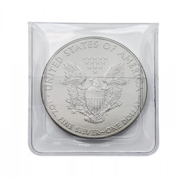 Münz-Hüllen aus glasklarer PVC-Folie, 50 x 50 mm, 100er-Packung