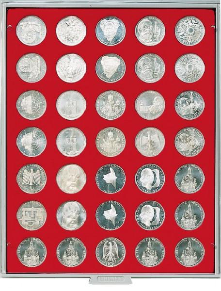 Velourseinlage, hellrot, mit 35 runden Vertiefungen für Münzen mit ø32,5 mm, z.B. für deutsche 20 Euro- bzw. 10 Euro-Silbermünzen