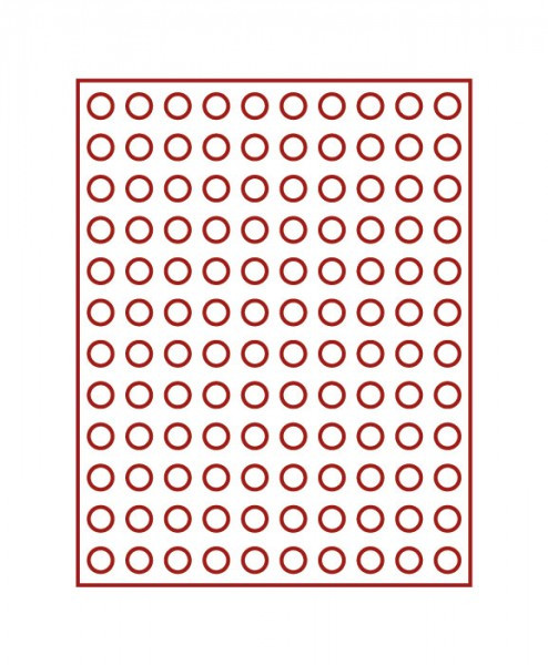Velourseinlage, dunkelrot, mit 120 runden Vertiefungen für Münzen mit ø16,5 mm