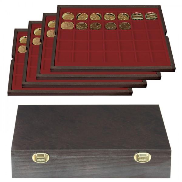 Echtholzkassette CARUS mit 4 Tableaus für 140 Münzen/Münzkapseln bis ø 36 mm