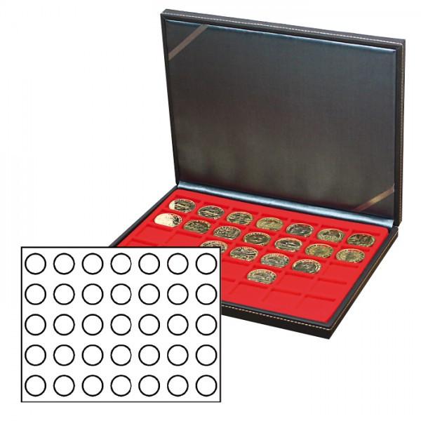 Münzkassette NERA M mit hellroter Münzeinlage mit 35 runden Vertiefungen für Münzen mit ø 32,5 mm, z.B. für deutsche 20 Euro- bzw. 10 Euro-Silbermünzen