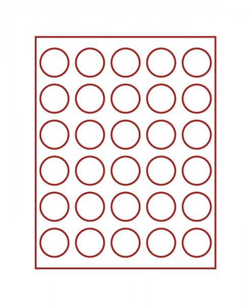 Velourseinlage, dunkelrot, mit 30 runden Vertiefungen für Münzen mit ø39 mm