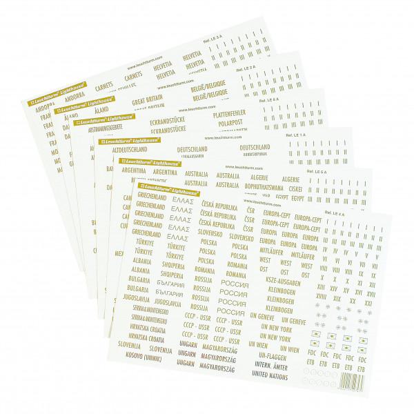 Länderetiketten mit Goldschrift, diverse Zusatzetiketten