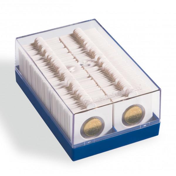 Kunststoffbox KRBOX für 100 Münzrähmchen, blau