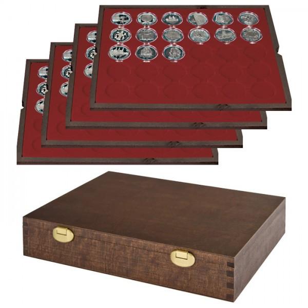 Echtholz Münzkassette mit 4 Tableaus für 120 Münzkapseln mit Außen-ø 39 mm, z.B. für deutsche 20 Euro-/10 Euro-Silbermünzen in Münzkapseln - SONDEREDITION