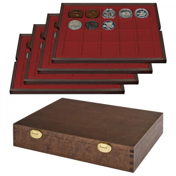 Echtholz Münzkassette mit 4 Tableaus für 80 Münzen/Münzkapseln bis ø 47 mm - SONDEREDITION