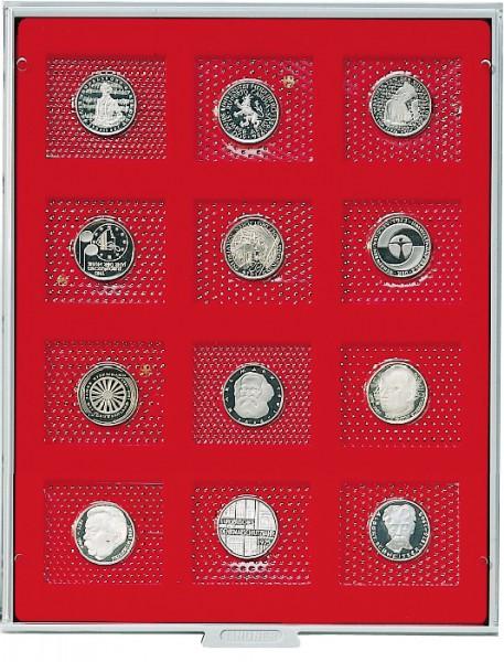 Münzbox STANDARD mit 12 rechteckigen Fächern für original eingeschweißte 5 DM-Gedenkmünzen PP