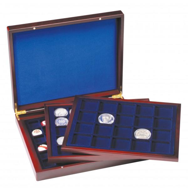 Münzkassette VOLTERRA TRIO deLuxe, mit eckigen Fächern fürMünzen mit 30mm, 39mm, 48mm Ø
