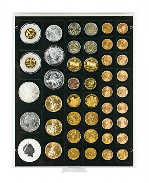 Velourseinlage, schwarz, mit 45 rechteckigen Fächern für Münzen/Münzkapseln bis ø24, 28, 39 und 44 mm