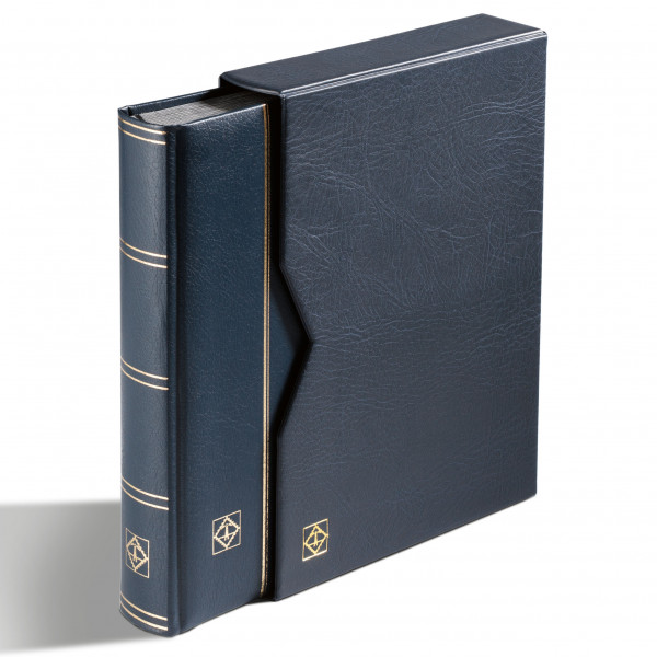 Einsteckbuch PREMIUM, DIN A4, 64 schwarze Seiten, wattierter Ledereinb.* inkl. Kassette