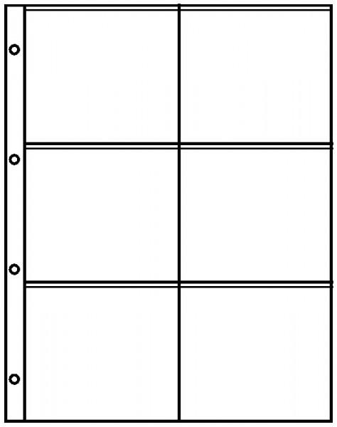 Einsteckblätter A4 glasklar mit 6 Taschen (110 x 98 mm), 10er-Packung