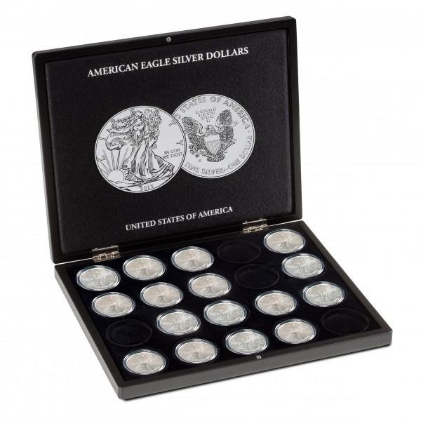 Münzkassette für 20 American Eagle-Silberunzen in Kapseln, schwarz