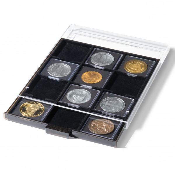 Münzbox für QUADRUM XL 12 eckige Fächern, rauchfarben mit schwarzer Einlage