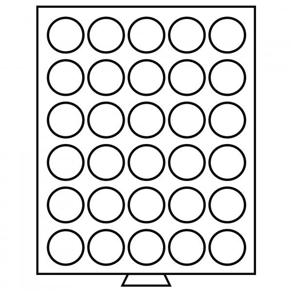 Münzbox 30 runde Fächer (39 mm), rauchfarben