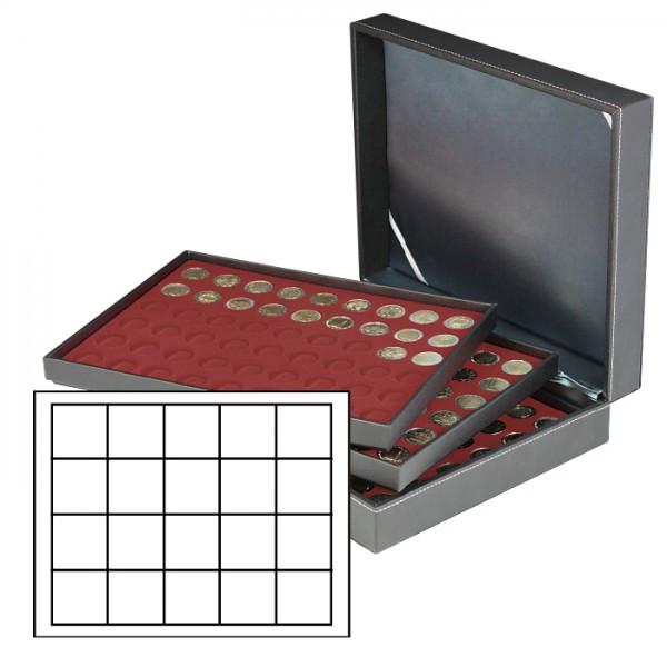 Münzkassette NERA XL mit 3 Tableaus und dunkelroten Münzeinlagen mit 60 quadratischen Fächern für Münzen/Münzkapseln bis ø 47 mm