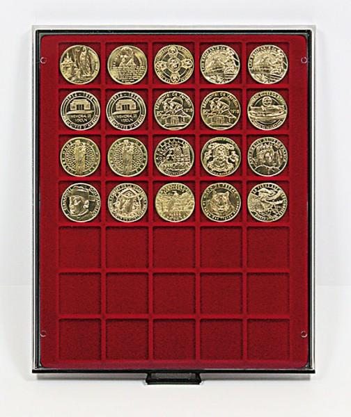 Velourseinlage, dunkelrot, mit 35 quadratischen Fächern für Münzen/Münzkapseln bis ø36 mm