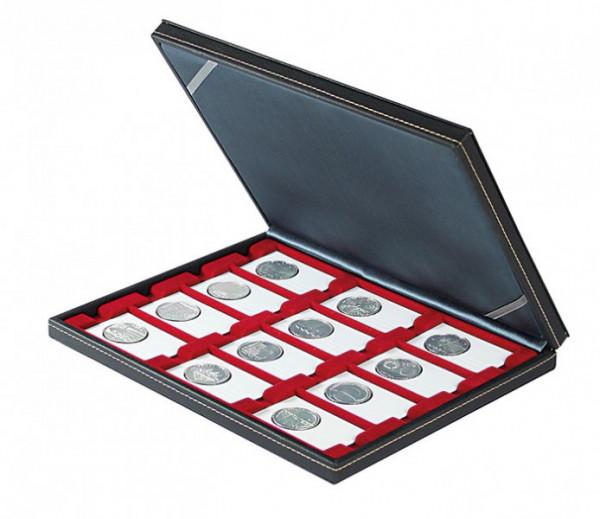 Münzkassette NERA M mit dunkelroter Münzeinlage mit 12 rechteckigen Fächern für REBECK COIN L Münzrähmchen 75x50 mm