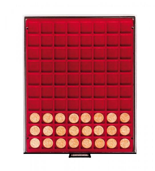 Velourseinlage, dunkelrot, mit 80 quadratischen Fächern für Münzen/Münzkapseln bis ø24 mm
