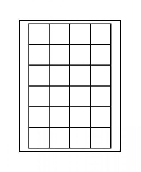 Velourseinlage, schwarz, mit 24 quadratischen Fächern für Münzen/Münzkapseln bis ø42 mm
