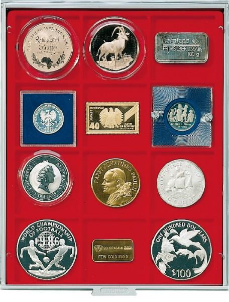 Velourseinlage, hellrot, mit 12 quadratischen Fächern für Münzen/Münzkapseln bis Außen-ø66 mm