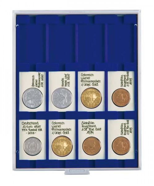 Münzbox MARINE mit 12 rechteckigen Fächern für REBECK COIN L Münzrähmchen 75x50 mm