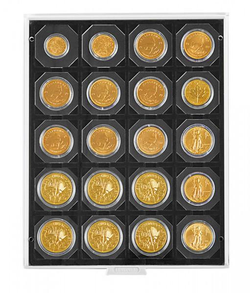 Velourseinlage, schwarz, mit 20 quadratischen Fächern für Münzrähmchen 50x50 mm/Münzkapseln CARRÉE/OCTO Münzkapseln