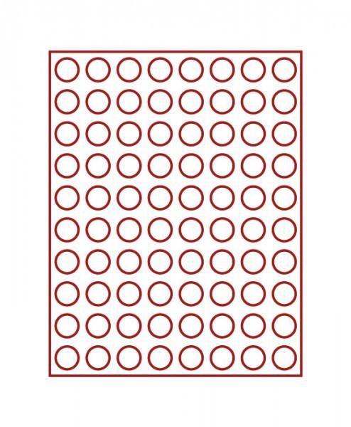 Velourseinlage, dunkelrot, mit 80 runden Vertiefungen für Münzen mit ø23,5 mm