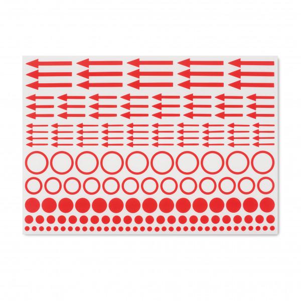 Kennzeichnungs-Etiketten mit Punkten, Kreisen und Pfeilen, 10er-Set