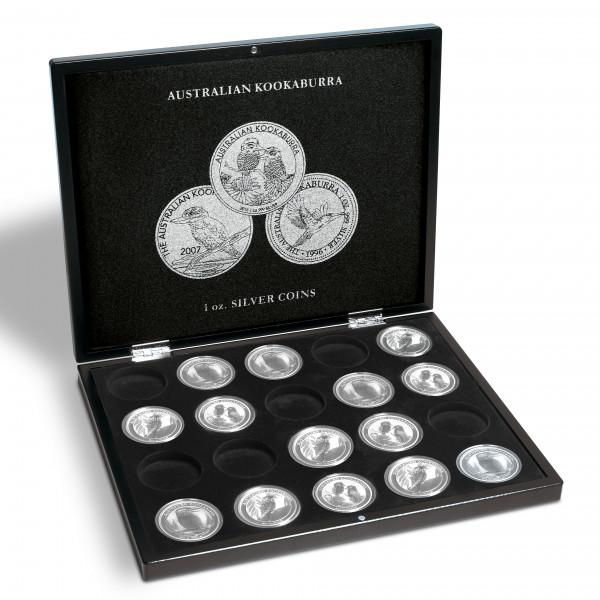 Münzkassette für 20 Kookaburra Silberunzen, schwarz