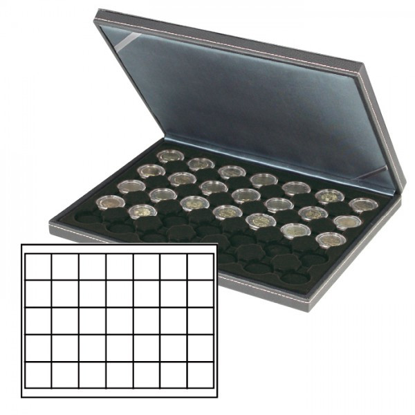Münzkassette NERA M mit schwarzer Münzeinlage mit 35 quadratischen Fächern für Münzen/Münzkapseln bis ø 36 mm