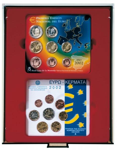 d-Box RAUCHGLAS mit rechteckigen Fächern für 2 x 5 original Euro-Kursmünzen-Sätze Deutschland in Stempelglanz (bis 2014)