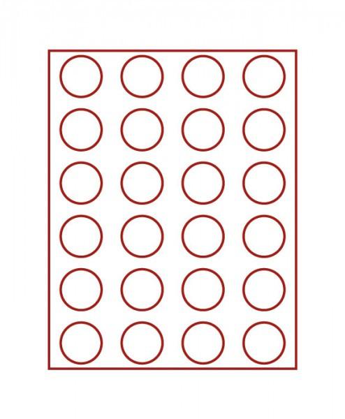 Velourseinlage, dunkelrot, mit 24 runden Vertiefungen für Münzen mit ø41 mm