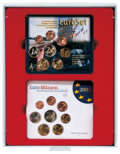 d-Box STANDARD mit rechteckigen Fächern für 2 x 5 original Euro-Kursmünzen-Sätze Deutschland in Stempelglanz (bis 2014)