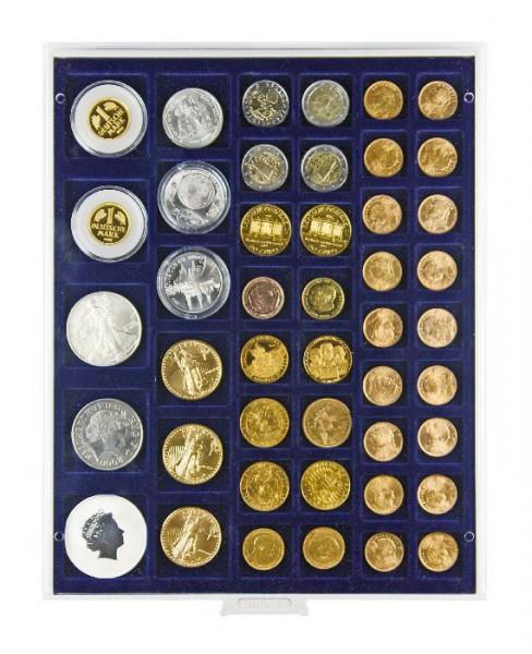 Velourseinlage, dunkelblau, mit 45 rechteckigen Fächern für Münzen/Münzkapseln bis ø24, 28, 39 und 44 mm