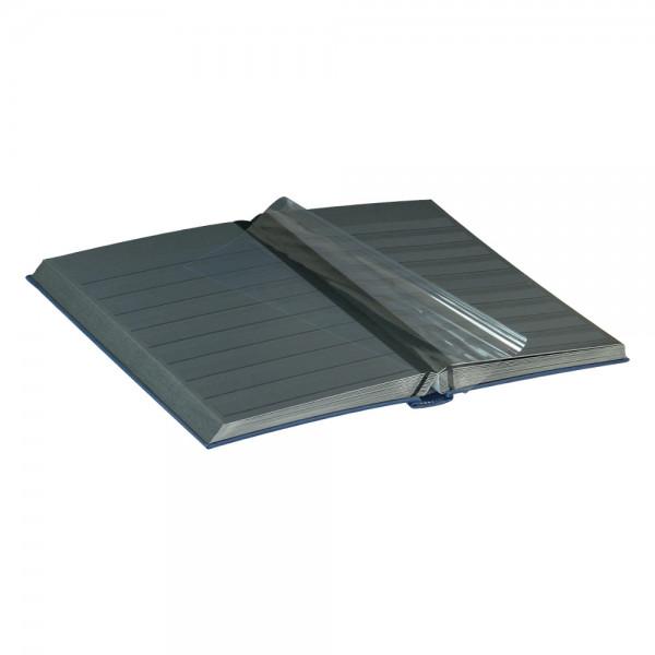 Einsteckbuch DIAMANT, blau, wattiert, 60 schwarze Seiten, durchgehende Klarsichtfolien-Streifen, 230 x 305 mm