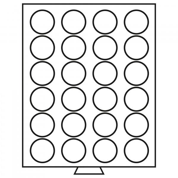 Münzbox 24 runde Fächer (41 mm), rauchfarben