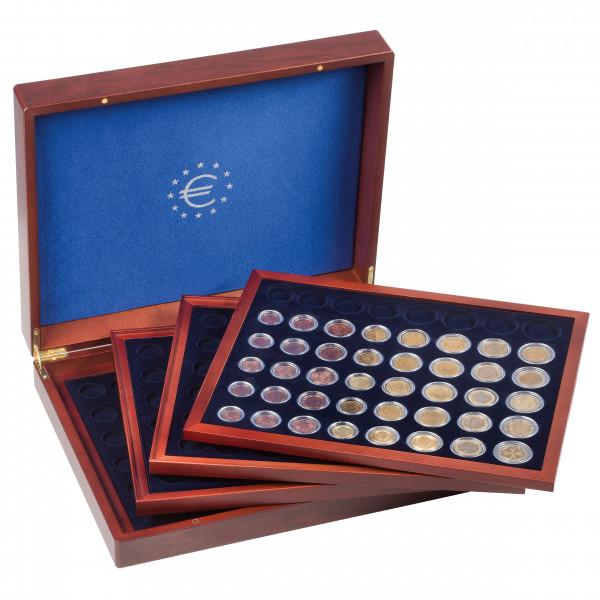 Münzkassette VOLTERRA QUATTROde Luxe für 24 Euro-Kursmünzensätze in Kapseln, mahagoni