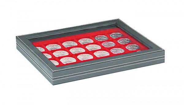 Münzkassette NERA M PLUS mit hellroter Münzeinlage mit 24 quadratischen Fächern für Münzen/Münzkapseln bis ø 42 mm